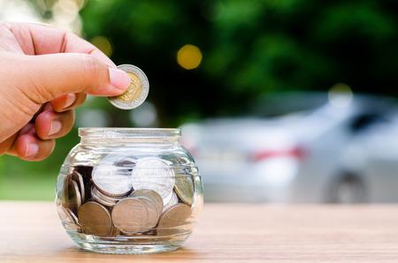 el ahorro de dinero para el concepto de coche compra, dinero, hucha, dinero, monedas