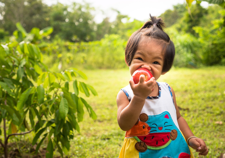 Asian baby girl eating apple over green background in morning time with sunlight Stockfoto