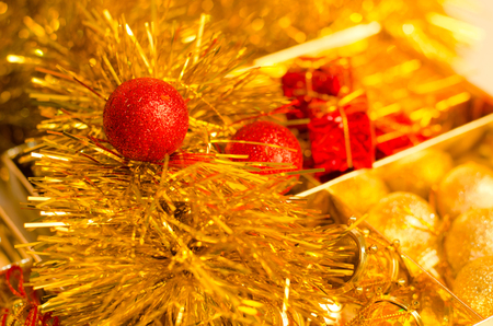 christmas scene and new year decorative for art design with red and gold color