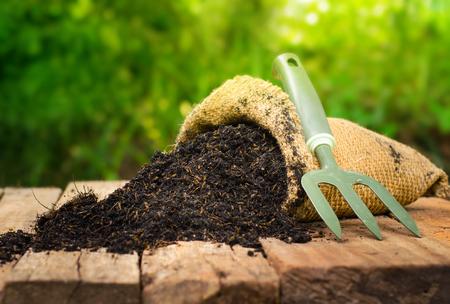fertilizer bag  over green background, Summer garden concept