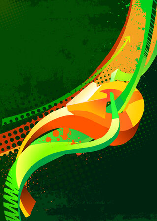 Grunge background in dark green and orange colors Vector