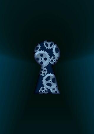 Keyhole and gear in dark illustration.