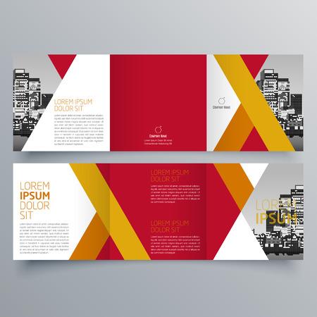 パンフレット デザイン、パンフレット作成用テンプレート、創造的な三つ折り、傾向のパンフレット  イラスト・ベクター素材