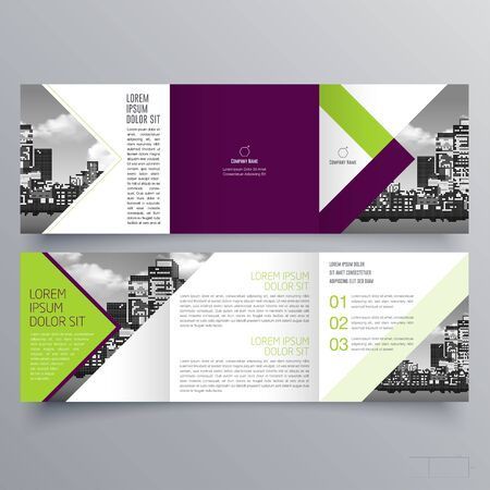 Diseño de folleto, plantilla de folleto, tríptico creativo, folleto de tendencia