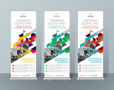 Banner Design Cartello Pubblicità Brochure Flyer Template Vector X-banner e Street Business Bandiera di convenienza, Layout Background Vettoriali