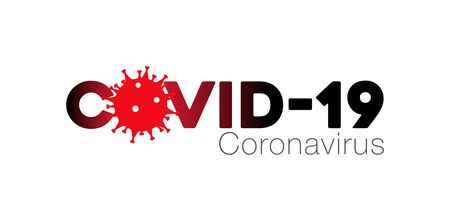 Covid-19 Coronavirus concept inscription typography design logo, Contagious diseases of the characters when exposed to a virus, dangerous virus vector illustration Иллюстрация