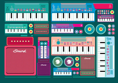 synthesizer: Vector music set of Synthesizer Keys Knobs Buttons and keyboard Illustration
