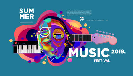 Music Festival Illustration Design for Party and Event. Vector Illustration Collage of Music for Background and Wallpaper
