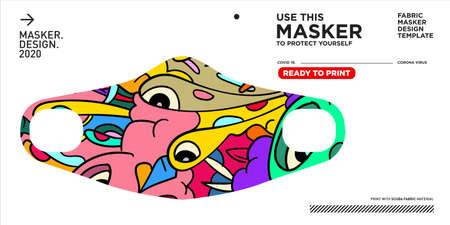 Colorful doodle pattern illustration masker design to protect form corona virus