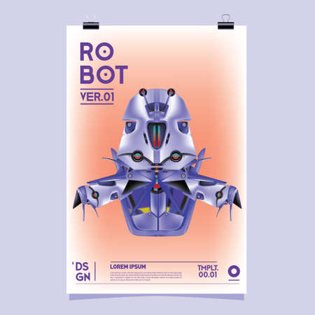Vector Realistic Robot Illustration. Robot and toys design festival poster template, social media feed, print and advertisement.
