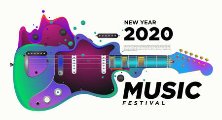 Music Festival Design for 2021 New Year Party and Event for social media web banner and print