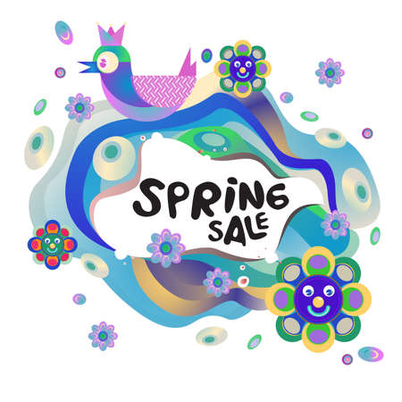 Spring Sale Colorful Special Discount Banner and Illustration for social media Stock fotó - 155437183