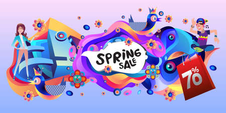 Spring Sale Colorful Special Discount Banner and Illustration for social media Stock fotó - 155437432