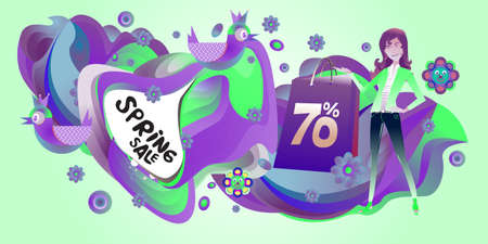 Spring Sale Colorful Special Discount Banner and Illustration for social media Stock fotó - 155437436