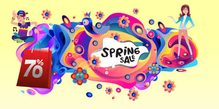 Spring Sale Colorful Special Discount Banner and Illustration for social media Stock fotó - 155437471