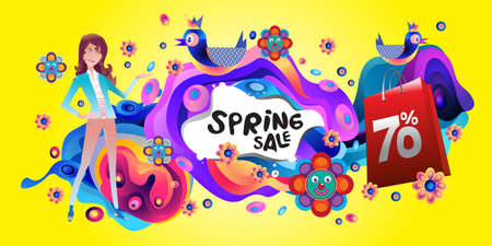 Spring Sale Colorful Special Discount Banner and Illustration for social media Stock fotó - 155437486