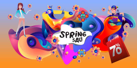 Spring Sale Colorful Special Discount Banner and Illustration for social media Stock fotó - 155437789
