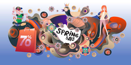 Spring Sale Colorful Special Discount Banner and Illustration for social media Stock fotó - 155437809