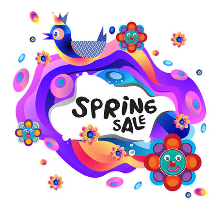 Spring Sale Colorful Special Discount Banner and Illustration for social media
