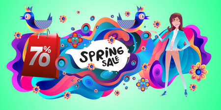 Spring Sale Colorful Special Discount Banner and Illustration for social media Stock fotó - 155438179
