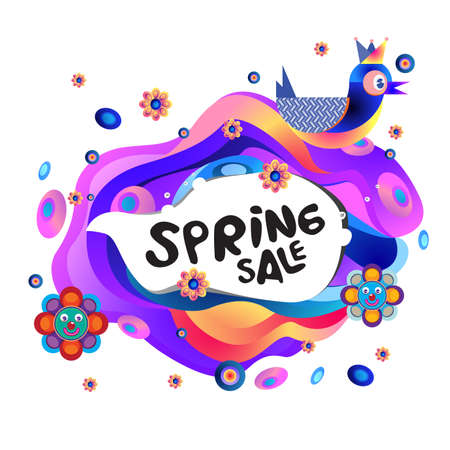 Spring Sale Colorful Special Discount Banner and Illustration for social media Stock fotó - 155438193