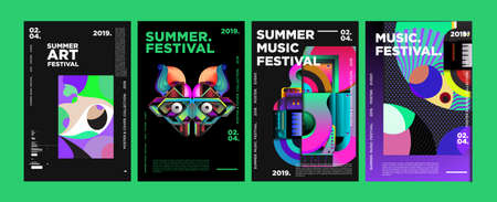 Summer Colorful Art and Music Festival Poster and Cover Template for Event, Magazine, and, Web Banner.