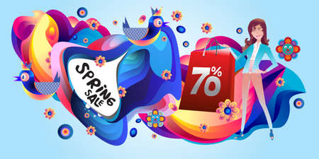 Spring Sale Colorful Special Discount Banner and Illustration for social media Stock fotó - 155438245
