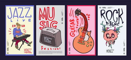 Music Festival Illustration Design for Jazz, Rock, Metal, Blues, Punk and Live Music Concert 2020. Vector Illustration Collage of Music Festival Poster, Banner, Background and Wallpaper