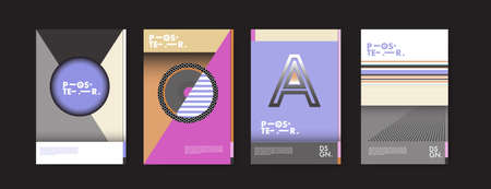 Colorful geometric poster and cover design. Minimal geometric pattern gradients backgrounds template.