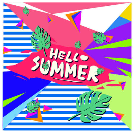 Trendy vector summer cards illustration with floral elements and abstract colorful textures. Design for poster, card, invitation, brochure and promotion template. Fashion art print and background design.