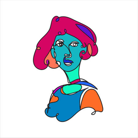 Colorful Woman portrait continuous line art drawing in psychedelic abstract surreal style. Hand drawn raster illustration for your contemporary fashion design.
