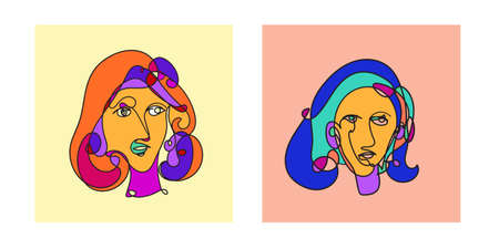 Colorful Woman portrait continuous line art drawing in psychedelic abstract surreal style. Hand drawn raster illustration for your contemporary fashion designs