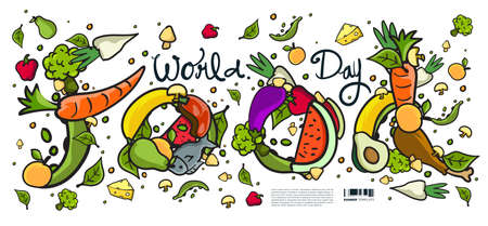 World Food Day Banner Vector Illustration Various Food, Fruits, and Vegetables. Vector Colorful Doodle Food Illustration for Website, Landing Page, Banner, Poster, Print, Story, Social Media, and advertisement.