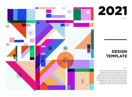 New Year 2021 colorful geometric poster design templates Ilustración de vector