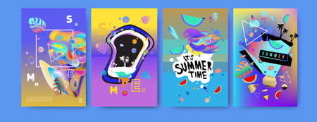 Colorful summer poster set. Tropical summer design template and cover. Summer illustration elements and background design template Vetores