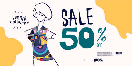 Vector illustration colorful women fashion summer sales banner discount 50% off. Summer design fashion collection.