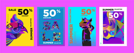 Vector Summer sale 50% discount poster design template for fashion, music, game, and travel. Vettoriali