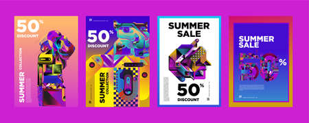 Vector Summer sale 50% discount poster design template for fashion, music, game, and travel.