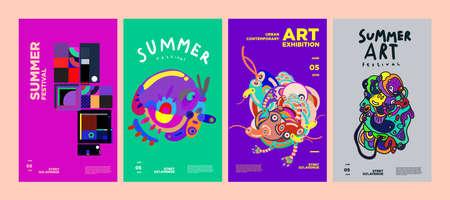 Summer Festival Art and Culture Colorful Illustration Poster. Illustration for Summer event, website, landing page, promotion, social media and print. Vektoros illusztráció