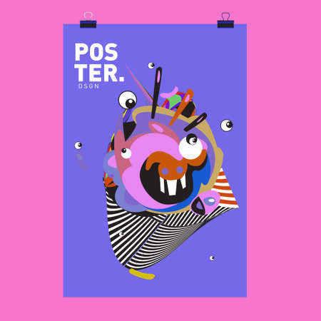 Abstract Colorful Cartoon Character Cover and Poster Design Templates. 3d Gradient Embryo Shape and Pattern Layout Design Template.