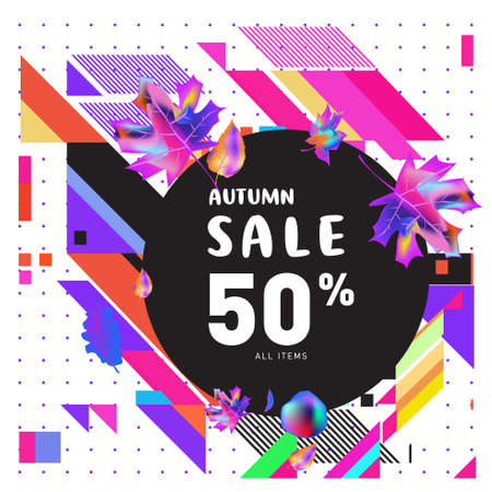 Autumn sale memphis style web banners. Fashion and travel discount poster. Vector holiday Abstract colorful illustration with special offer and promotion. Ilustración de vector