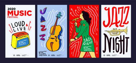 Music Festival Illustration Design for Jazz, Rock, Metal, Blues, Punk and Live Music Concert 2020. Vector Illustration Collage of Music Festival Poster, Banner, Background and Wallpaper Ilustração Vetorial
