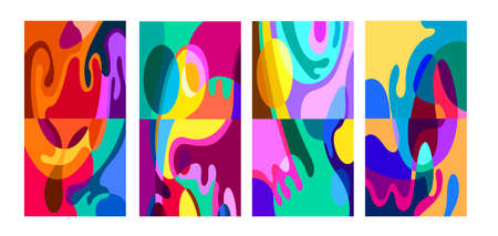 Vector colorful abstract psychedelic liquid and fluid background patterns