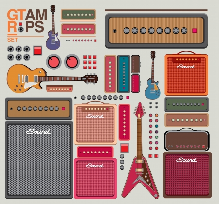 single coil: Compilation guitar and amplifier Illustration