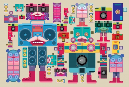 Vintage robot pattern sticker and wallpaper Vector