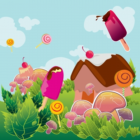 Fun ice cream candy in the land Vector