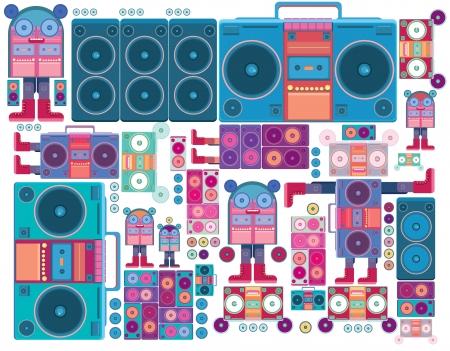 ghetto: ghetto blaster robot boombox nastro di musica vettore wallpaper Vettoriali