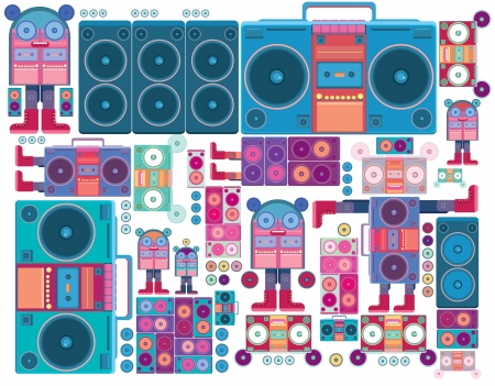 ghetto blaster: ghetto blaster robot boombox tape music vector wallpaper