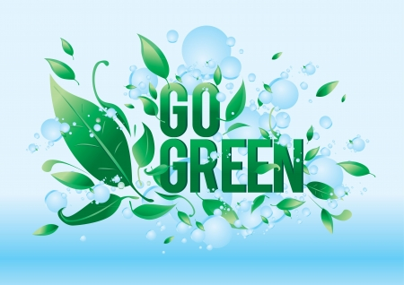 go green: Go green symbol style design Illustration
