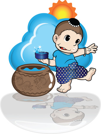 songkran: boy playing songkran day in water festival